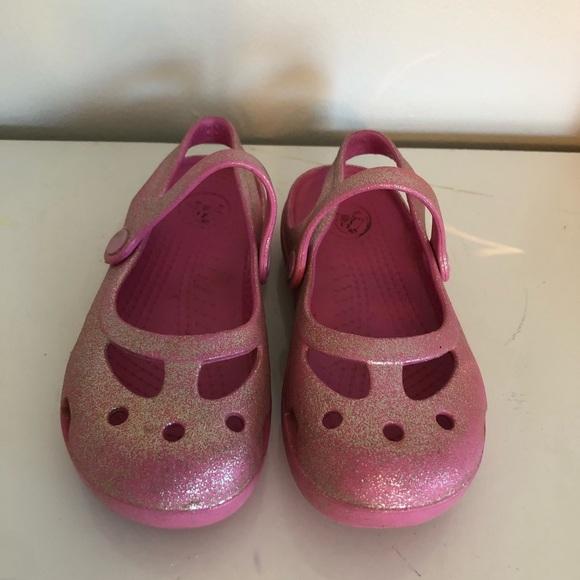 f4d1c394c CROCS Other - CROCS Toddler Girls Pink Sparkle Mary Jane Sandal